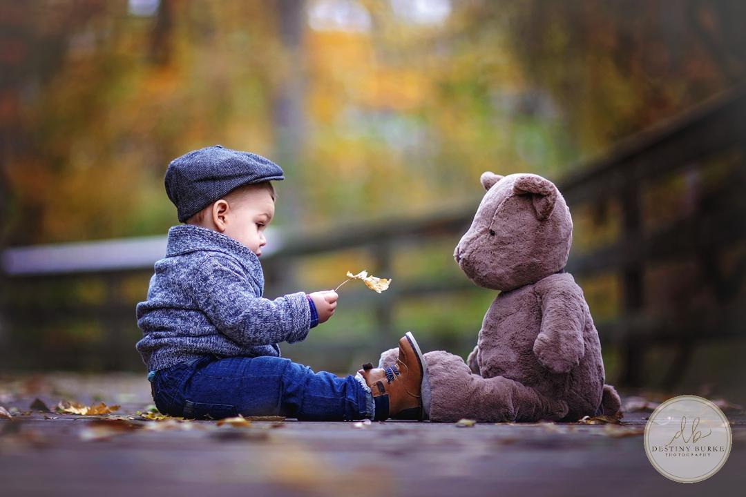 Little boy with teddy bear at George Bridge, Scottsville, NY