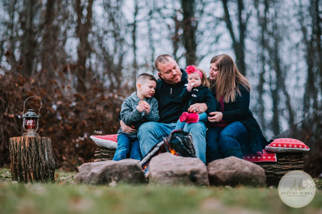 Family Campfire Smores Photography at Cobblestone Wedding Barn Scottsville, NY