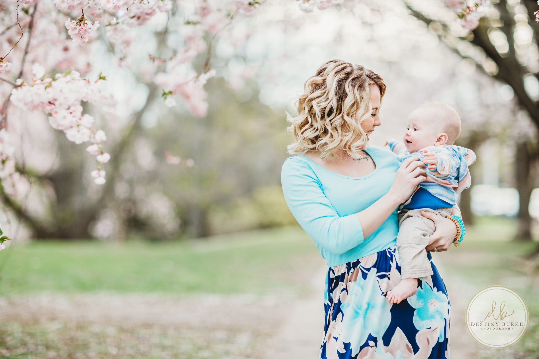 Mom and baby in Cherry Blossoms Rochester, NY Photography