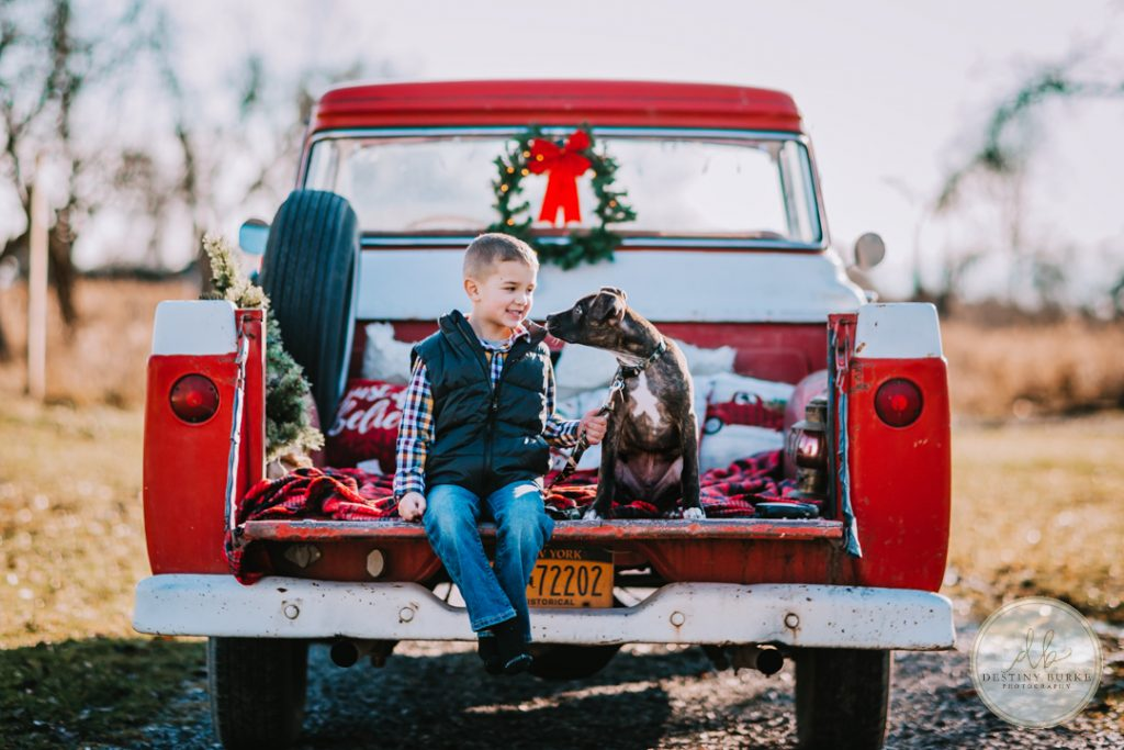 Vintage Truck Family Christmas Photography Rochester, NY Boy and puppy