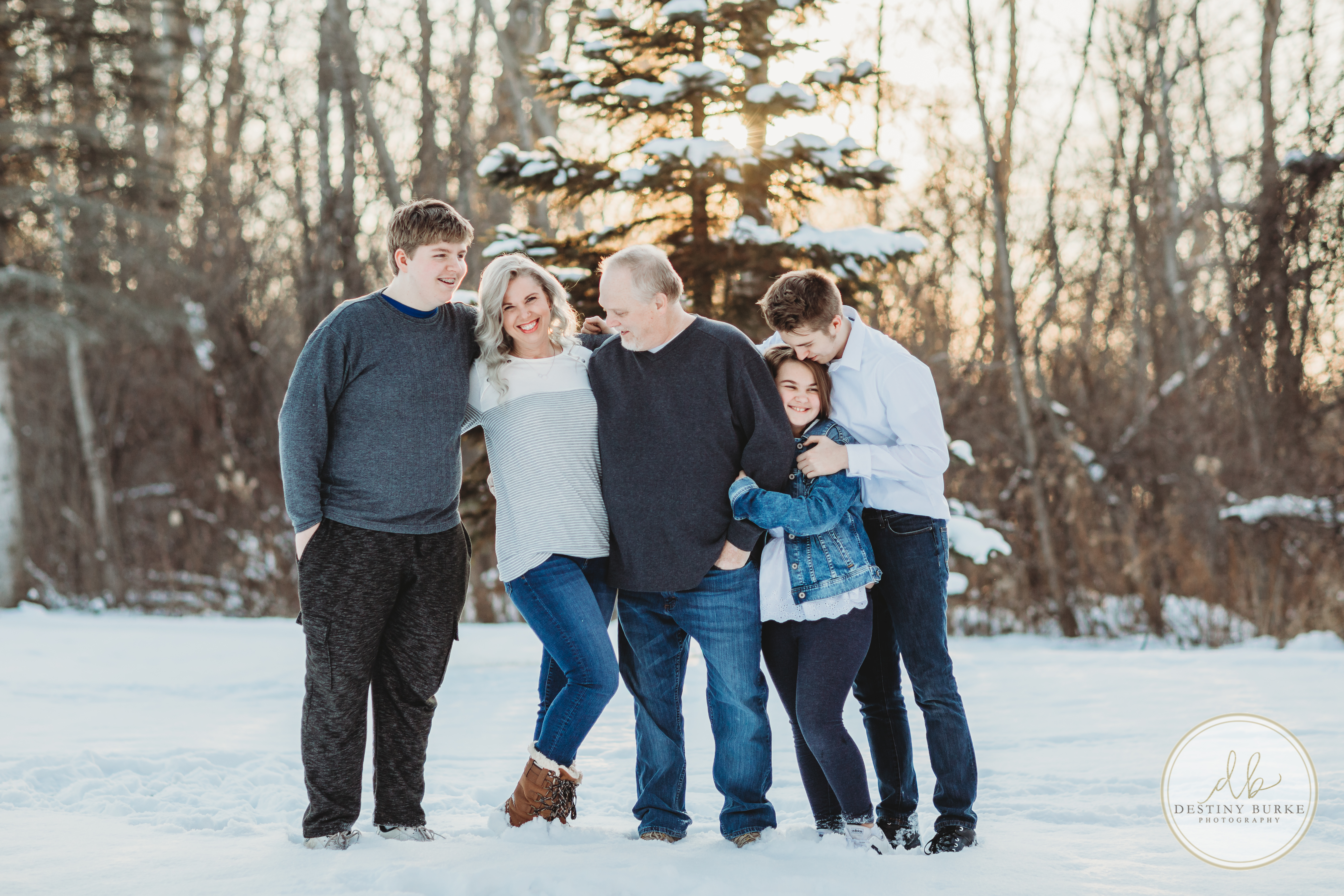 Snow, Family, Posing, Family of 5, Photography