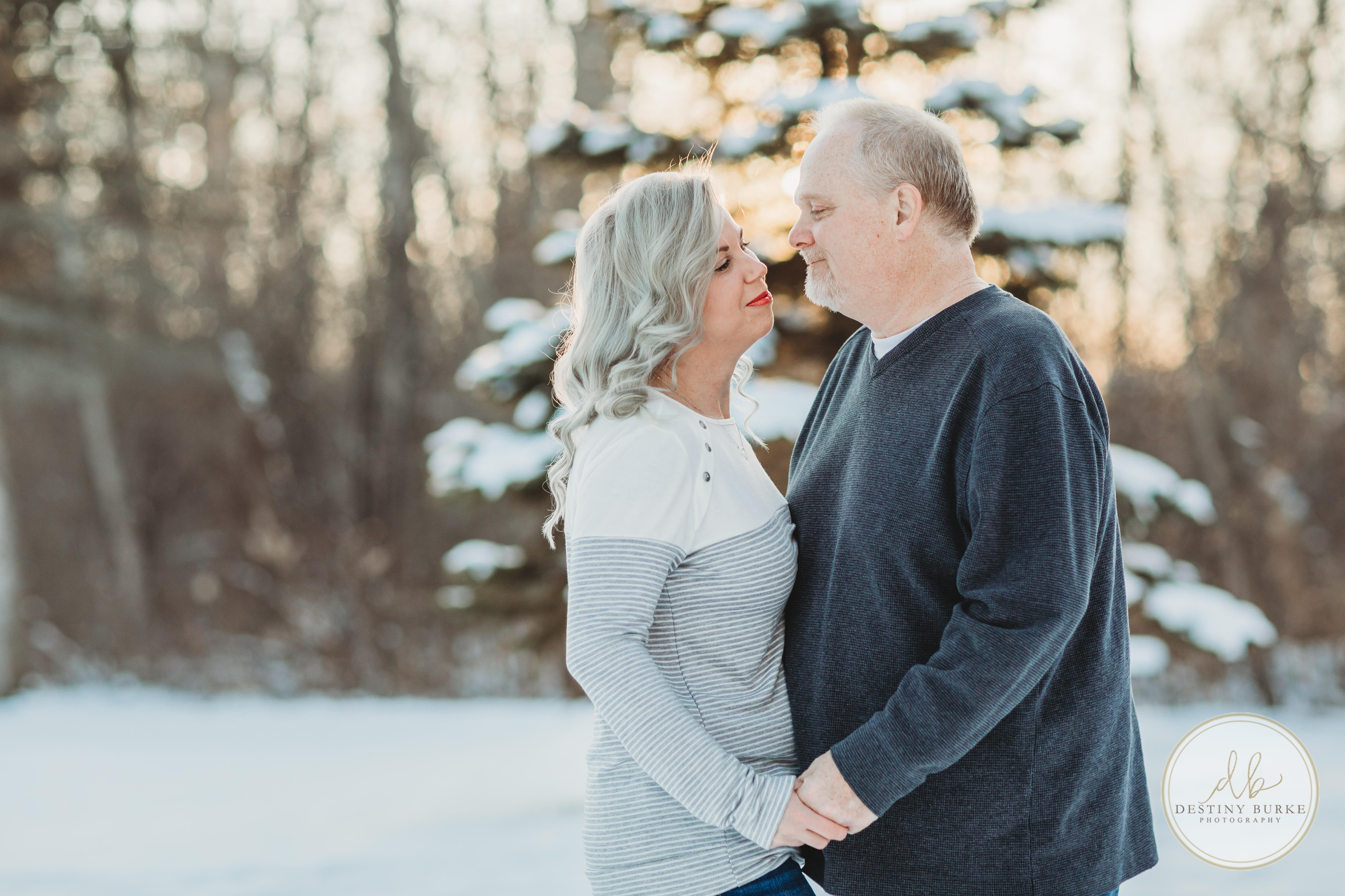 Snow. Love, Sunset, Rim Lighting, Red Lipstick, married,