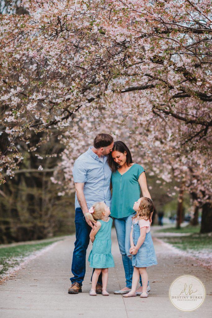 family, cherry blossoms, three children, Lamberton Conservatory, Highland Park