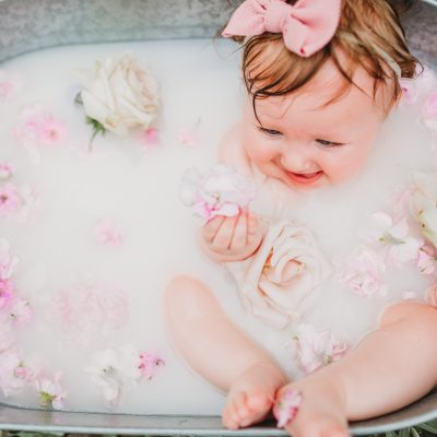 baby, 6 months, milk bath, bath, tub, flowers, Sungrove Blossoms and Events, baby girl, field, Helmer Nature Center, Rochester, NY, Family